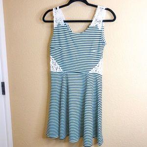 BOGO SALE Mint Strip Lace A-lone Skater Dress